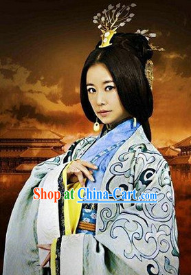 Ancient Chinese Han Dynasty Empress Dresses and Hair Decoration Complete Set