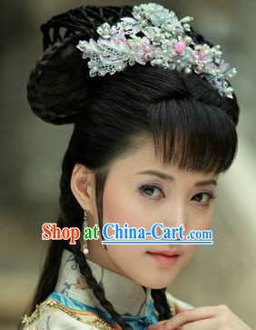 Ancient Chinese Long Wig and Hair Decorations