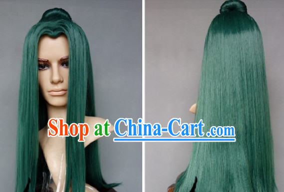Ancient Swordsman Cosplay Deep Green Long Wig for Men