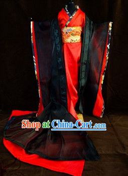 Ancient Black and Red Japanese Kimono Costumes for Ladies