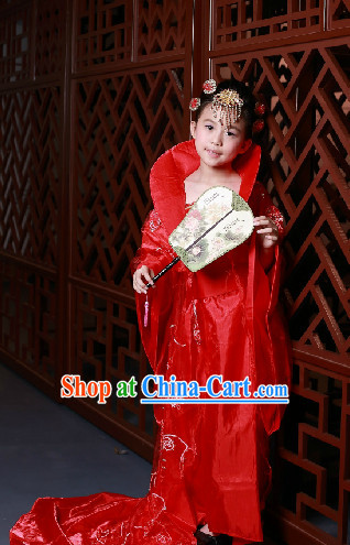 High Collar Chinese Traditional Red Princess Costumes for Kids