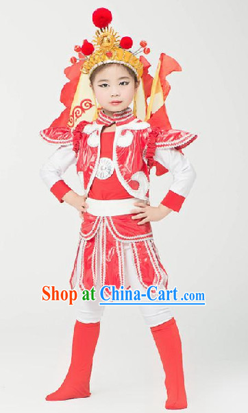 Hua Mulan Dance Costumes Complete Set for Kids