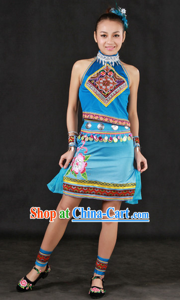 Custom Made Zhuang Ethnic Minority Dresses and Headwear Complete Set