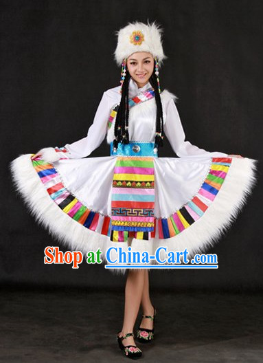 The Chinese Tibetan Ethnic Minority Clothing and Headwear Complete Set