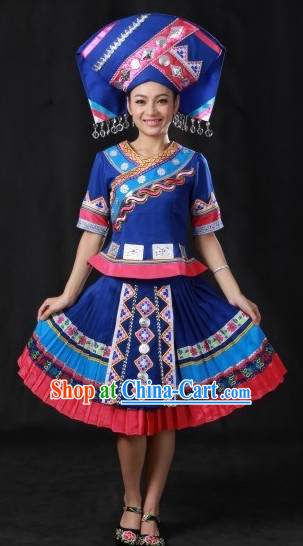 Chinese Zhuang Ethnic Minority Costumes and Hat Complete Set
