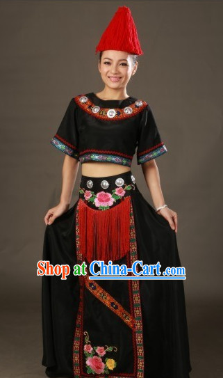 Chinese Yilao Ethnic Minority Costumes and Hat Complete Set