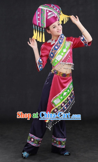Zhuang Ethnic Minority Folk Rcital Costumes and Hat Complete Set