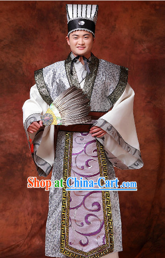 Chinese Three Kingdoms Zhuge Liang Costumes and Hat and Fan for Men