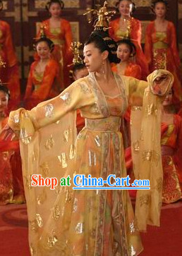 Tang Palace Dancing Costumes and Headwear Complete Set
