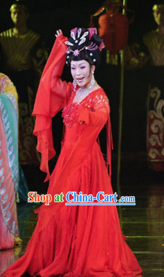 Red Chinese Classical Dance Costumes and Hair Accessories Complete Set