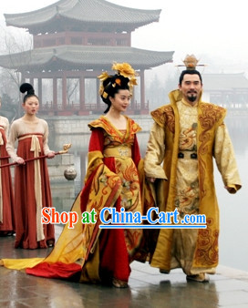 Tang Dynasty Palace Emperor and Empress Costumes and Headwears Complete 2 Sets