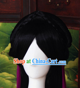 Black Cosplay Fairy Wig and Hair Jewelry for Girls