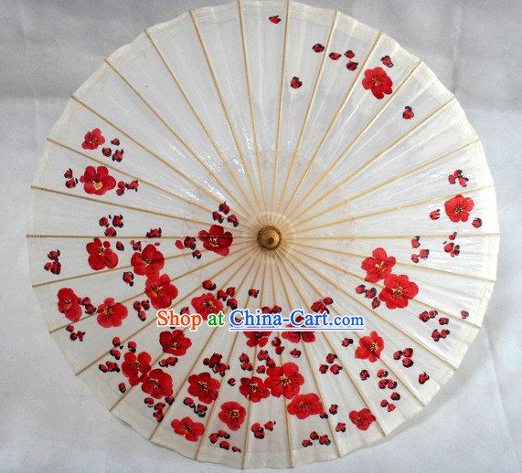 Traditional Chinese Hands Painted Red Flower Umbrella