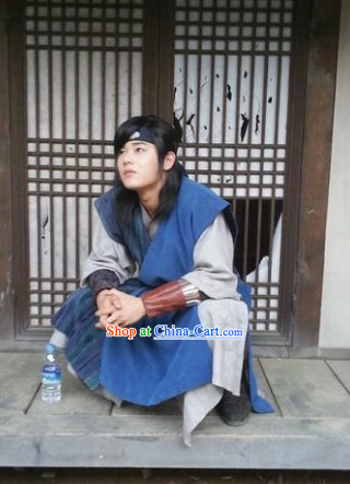 Ancient Korean Warriors Dress Clothing and Headwear for Men