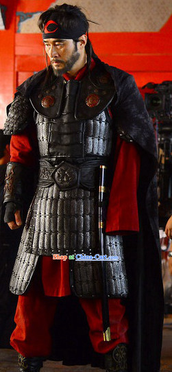 Ancient Korean Palace General Armor Costumes and Headwear Complete Set