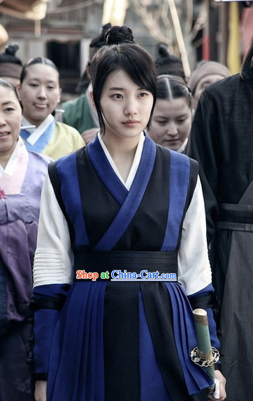 Traditional Korean Swordwoman Costumes Complete Set