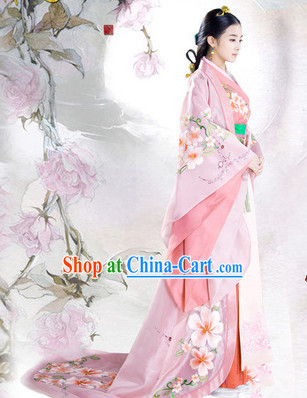 Ancient Chinese Imperial Princess Clothing Complete Set with Long Trail