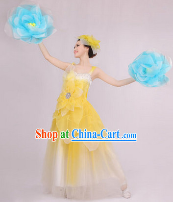 Big Festival Celebration Stage Dance Costumes and Headwear for Girls