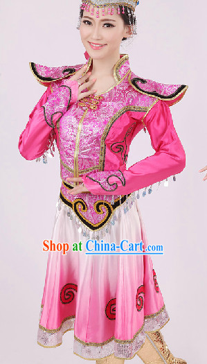 Traditional Chinese Ethnic Mongolian Dancing Costumes and Headwear Complete Set for Women