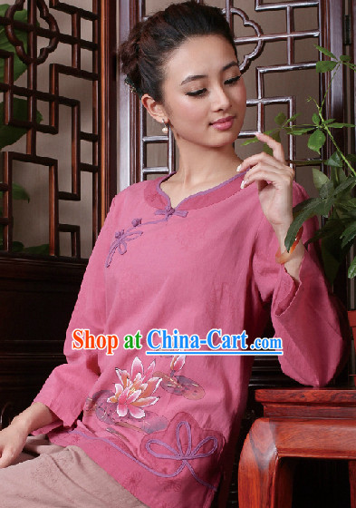 Hands Painted Peony Mandarin Traditional Long Shirt for Women