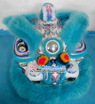 Blue Color Supreme Long Wool Hok San Lion Dance Costume Complete Set
