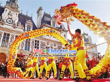 Gold Color Supreme Chinese Events Parade Chongqing Tongliang Dragon Dance Costume Complete Set