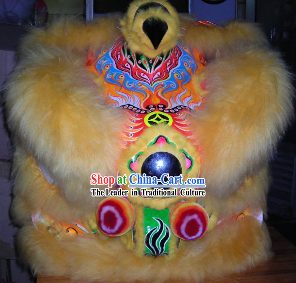 Chinese Lunar Year Celebration Long Wool Lion Dance Costumes Complete Set