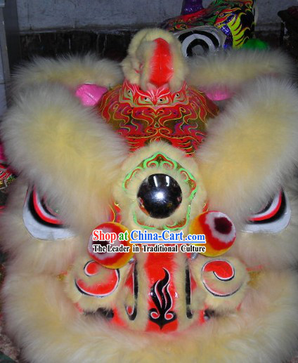 Chinese Lunar New Year Parade Long Wool Lion Dance Costumes Complete Set