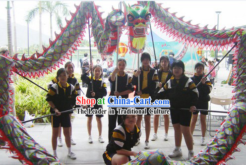 Top Chinese Glow in Dark Luminous Dragon Dance Head and Body Costumes Complete Set