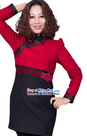 Traditional Chinese Mongolian One Piece Dress for Women