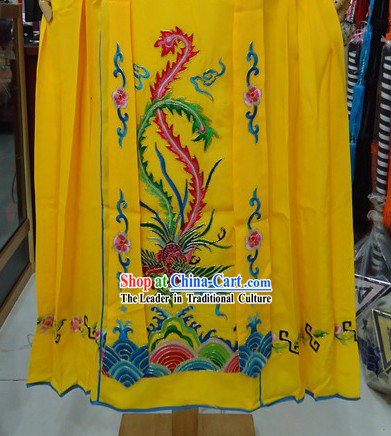 Traditional Chinese Stage Performance Yellow Embroidered Phoenix Hua Dan Skirt