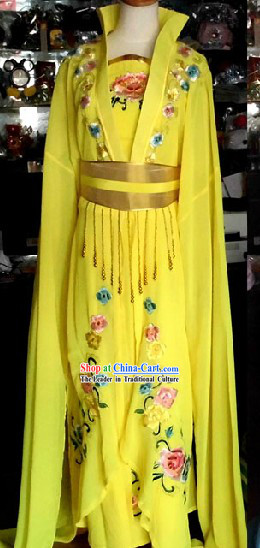 Traditional Chinese Yellow High Collar Empress Costumes