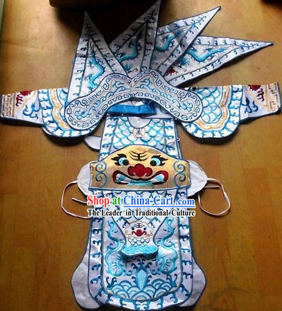 Traditional Chinese Embroidered Dragon Armor Da Kao Costume Complete Set for Boys