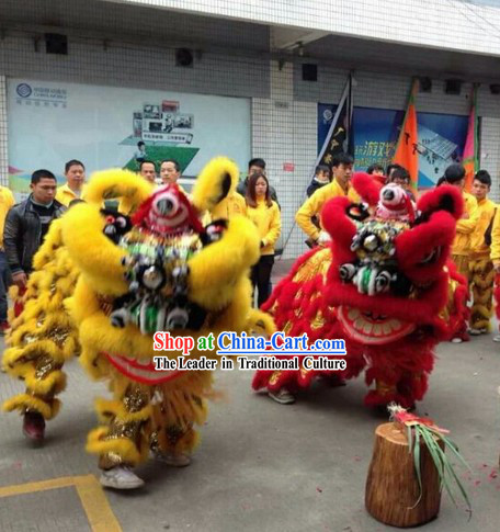 Supreme Big Events and Celebration Red and Yellow Lion Dance Costumes Complete 2 Sets