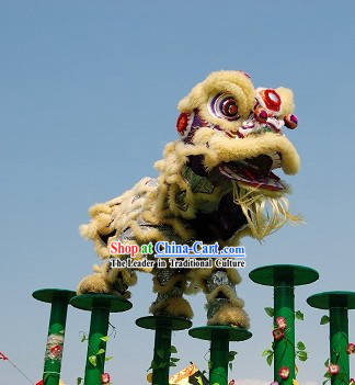 Beige and Silver Long Wool Lion Dance Show Costumes Complete Set