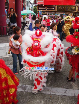 White Wool Red Underneath Lion Dance Dress Complete Set