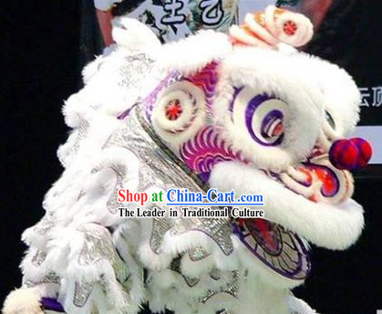 Pure White Hok San Lion Dance Costumes Complete Set