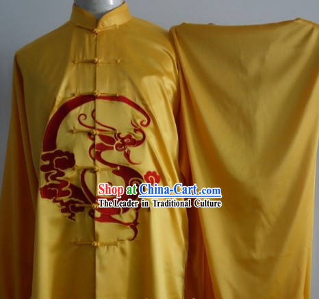 Gold Dragon Embroidery Silk Kung Fu Tai Chi Dresses Complete Set