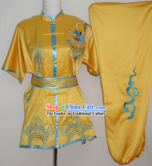 Yellow Dragon Embroidery Silk Martial Arts Shirt Pants and Belt for Middle School Teenagers