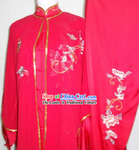 Chinese Traditional Red Kung Fu Uniform Complete Set