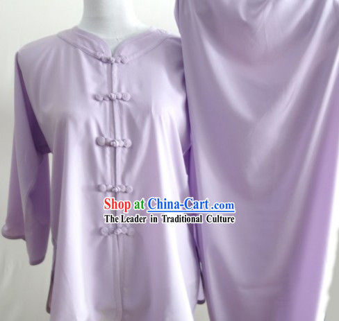 Kung Fu (Kungfu) Uniform Purple Long Sleeve Silk