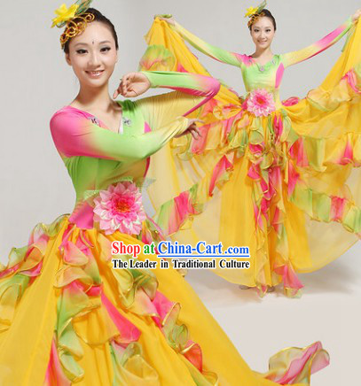 Rainbow Color Opening Dance Costumes and Headwear Complete Set for Women