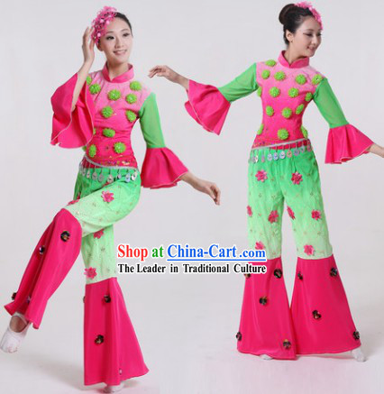 Yangge Dance Group Dance Singing Group Costumes and Headwear Complete Set for Women