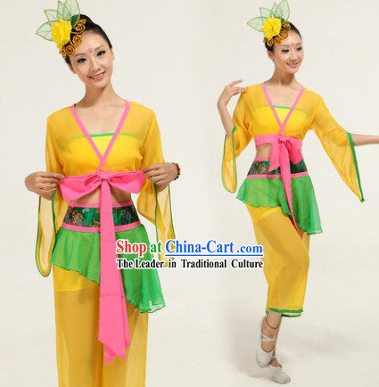 Fan Dance Group Dance Singing Group Performance Costumes and Headwear Complete Set for Women