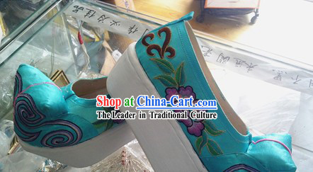 Ancient Peking Opera Embroidered Flower Shoes for Men