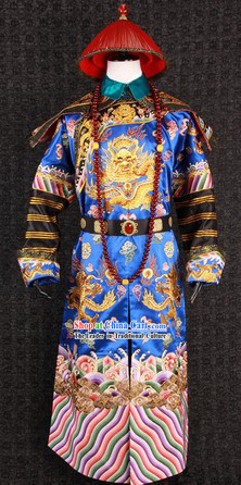 Ancient Chinese Film Costumes Design Official Clothes and Hat Complete Set for Men