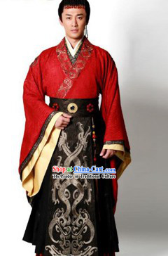 Ancient Chinese Han Dynasty Emperor Clothing and Crown for Men Ancient Chinese Traditional Dress Male