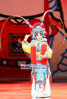 Traditional Chinese Peking Opera Mu Guiying Heroine Costumes for Kids