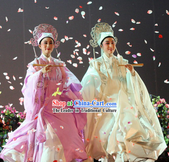 Traditional Chinese Peking Opera Butterfly Love Liang Shanbo and Zhu Yingtai Costumes and Hats