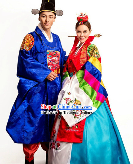 Ancient Korean Wedding Dresses and Hat for Bride and Bridegroom